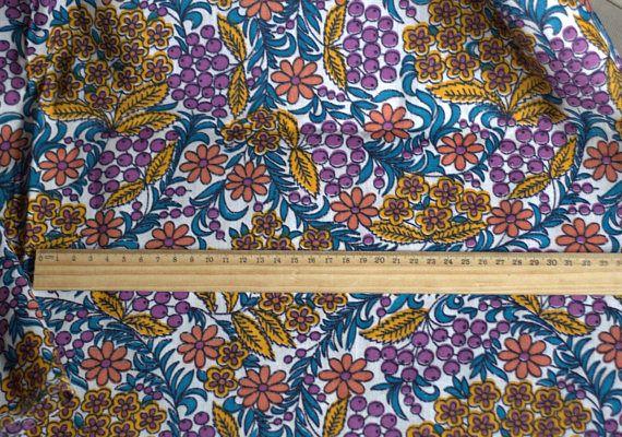 Soviet Vintage Fabric Vintage Fabric Cotton Flowers Retro