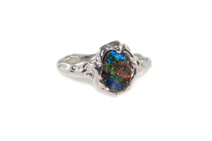 Holliegraphic handcrafted Australian boulder opal ring www.holliegraphic.com