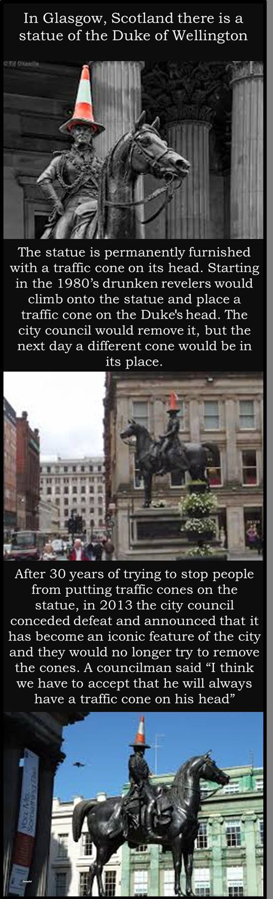 Not a 'cone of shame' = more a 'shame that the cone' had to wait 30 years to become officially recognised as being forever now linked to this iconic Glaswegian statue