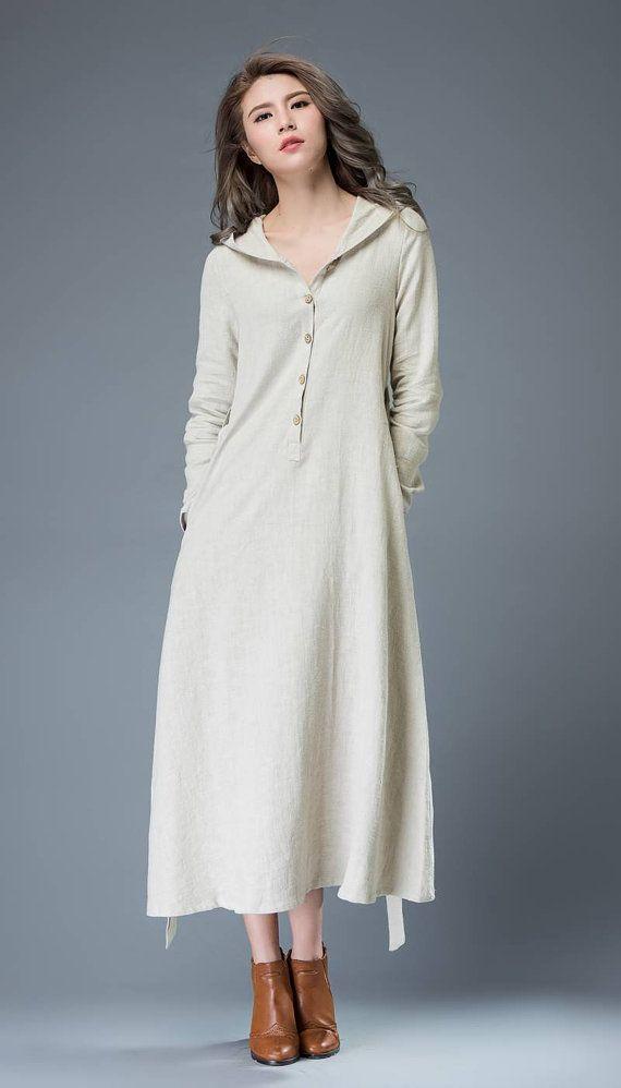 Gray Hooded Dress  Modern Buttoned Long Maxi Linen Coat Style