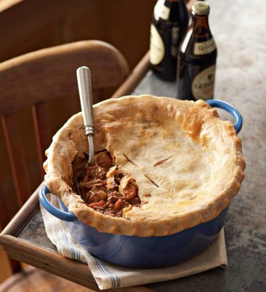 This hearty beef stew is slowly simmered on the stovetop, then topped with Stilton pastry and finished in a hot oven.