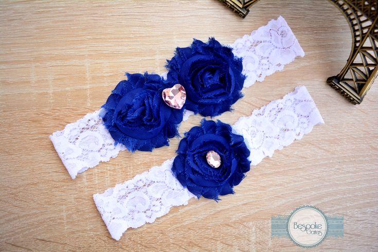 White Lace Garter, Garter Set, Wedding Garter, Cobalt Blue Garter, Cobalt Garter, Lace Garter, Something Blue Garter, Blue Garter, Garters by BespokeGarters on Etsy