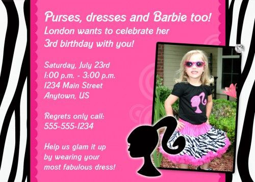 barbie invitation wording | Custom Photo Birthday Invitation - Barbie Glam Zebra Print Design ...