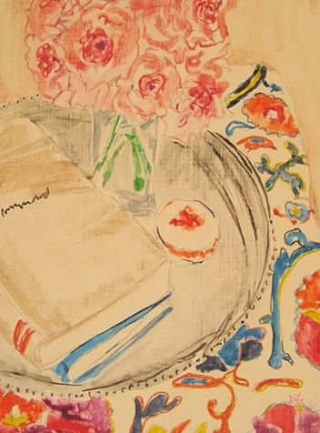 kate lewis: Artworks, Reading Book, Flower Drawing, Absolute Beautiful Things, Art Painting, Artists Creations, Art Projects, Kate Lewis, Afternoon Reading