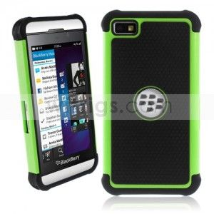 Ball Pattern PC with Silicone Hybrid Hard Case for BlackBerry Z10 Green/Black