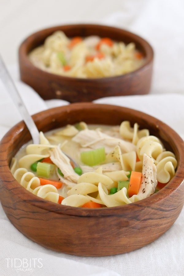 Creamy Chicken Noodle Soup Recipe - Tidbits