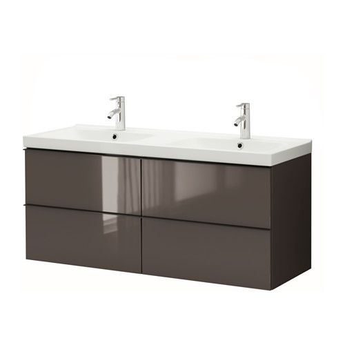 Dunkelbrauner Kleiderschrank Ikea ~ GODMORGON  ODENSVIK Sink cabinet with 4 drawers  high gloss gray