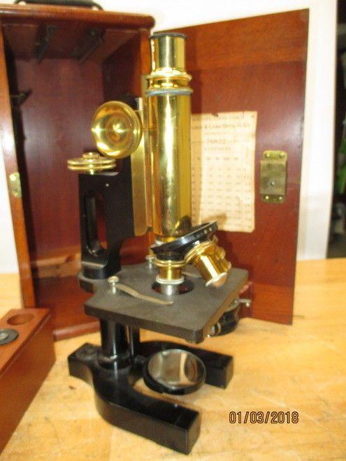 c1906 BAUSCH & LOMB OPTICAL MICROSCOPE OPTICAL ORIGINAL CASE COMPLETE BRASS #BAUSCHLOMB
