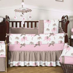 Elephant Crib Bedding Set Crib Bedding For Girls - So...I love bright colors for a girl...but this is actually super cute :)