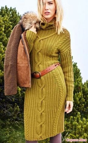 . Два теплых платья с косами (спицы)