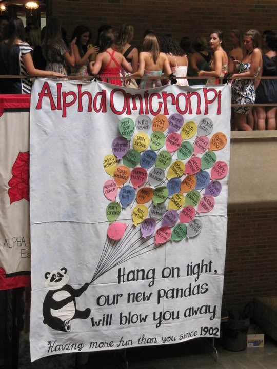 Hang on tight, our new pandas will blow you away!  Love this!!!Alpha Omicron Pi Bid Day, Sorority Banners Aoii, Sheets Signs, Alpha Omicron Pi Posters, Bid Day Theme, Posters Ideas, Balloon, Alpha Gam, Aoii Banners