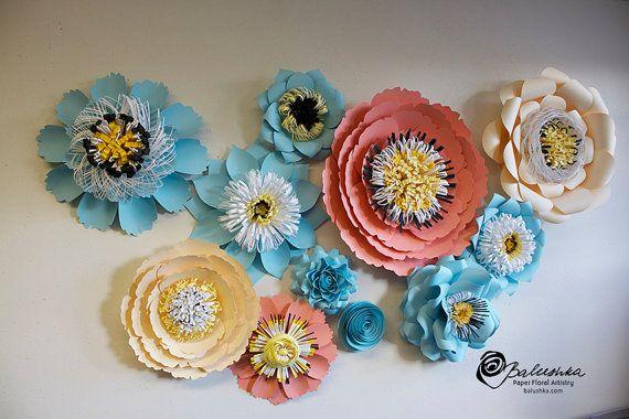 Papier Floral Collage papier fait main fleur Art mur décoration maison Decor pépinière décoration événements spéciaux 3D papier Collage