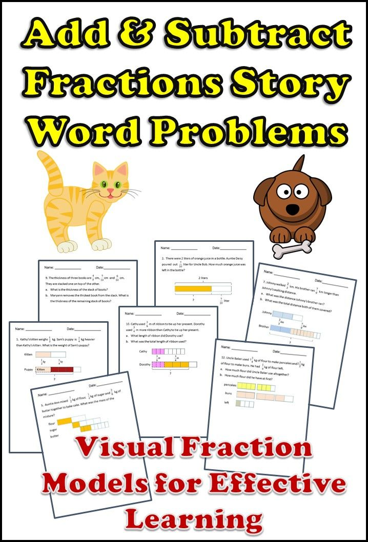 Solve 1 step and 2 steps fractions word problems. Add and subtract with like and unlike fractions, including mixed numbers. Differentiated pack include two versions; one with visual fraction models and one without visual fraction models to challenge students.