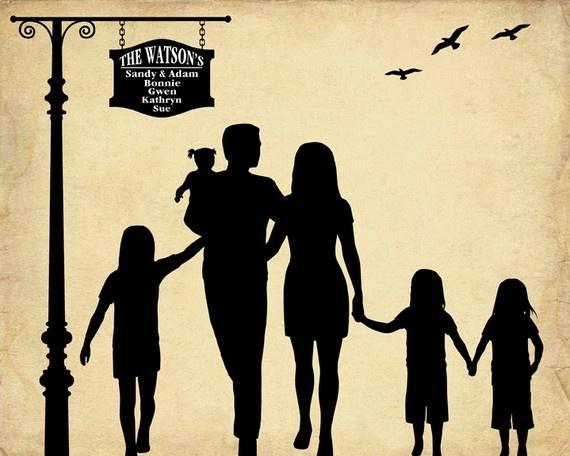 Custom family silhouette by Bernolli | Crafts | Art ...