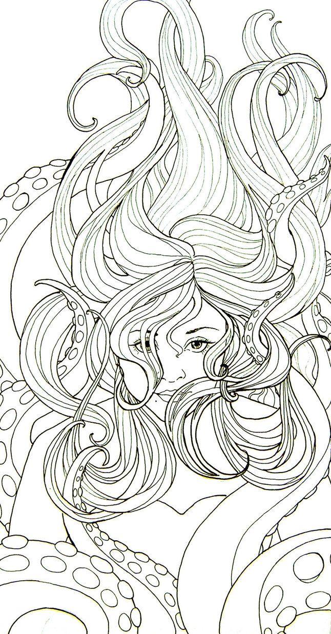 Coloring pages ursula - Kleurplaat Vrouw Art Nouveau Stijl Colouring Picture Jugendstil Like