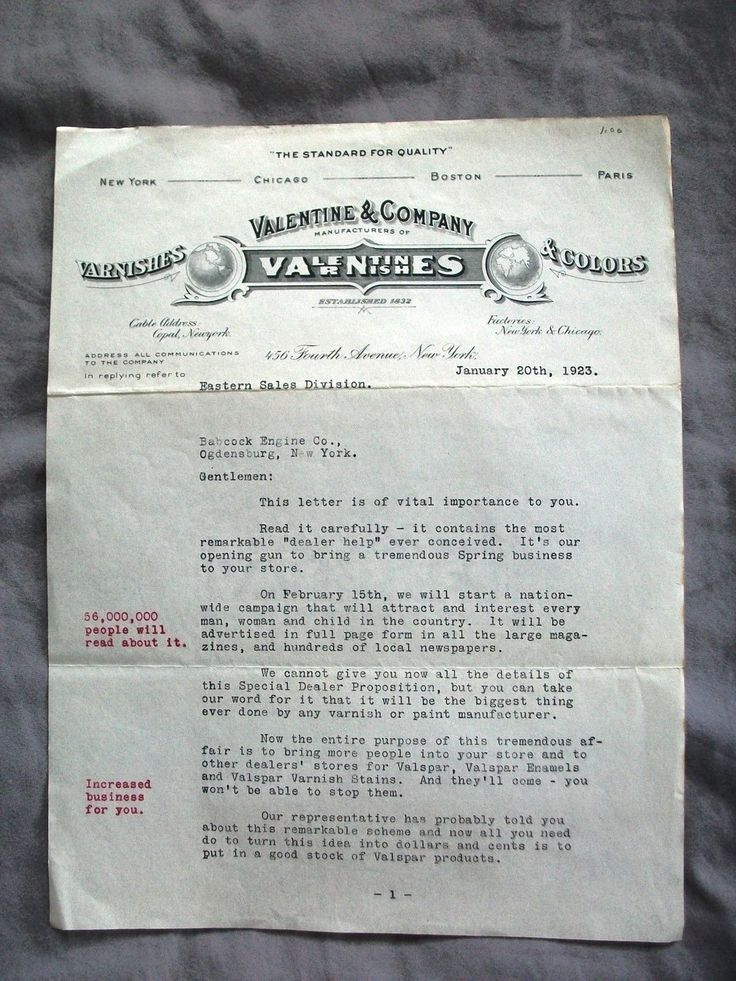 Antique Letterhead from 1923/VALENTINES VARNISHES & Colors/4th Ave New York | eBay