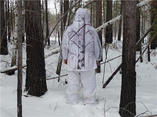 Белый маскировочный охотничий костюм