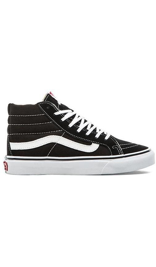 Shop for Vans Sk8-Hi Slim Sneaker in Black & True White at REVOLVE. Free 2-3 day shipping and returns, 30 day price match guarantee.