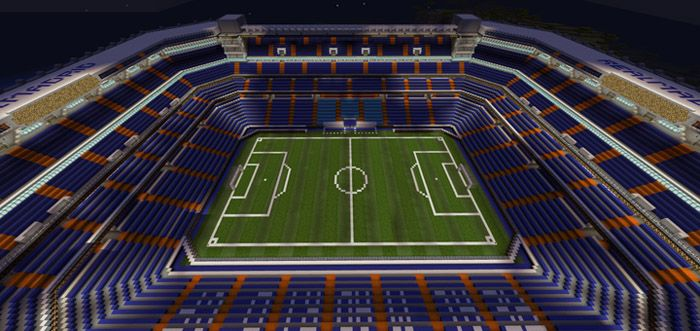 Santiago Bernabeu Stadium Creation Map For Minecraft Pe 1 2 0 7 Mcpe Box Santiago Bernabeu Stadium Minecraft City Real Madrid Manchester United
