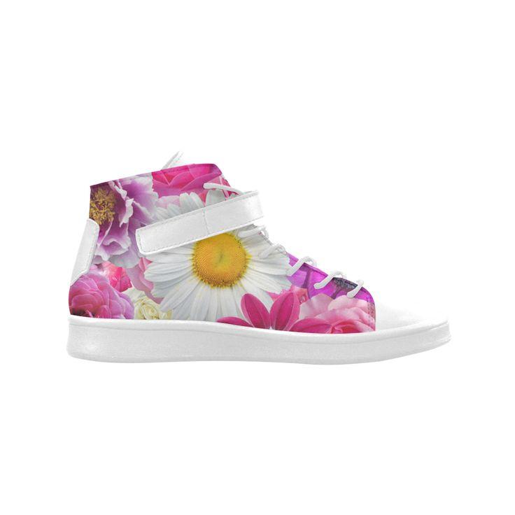 Pink flowers_ Gloria Sanchez1 Lyra Round Toe Women's Shoes(Model 310)