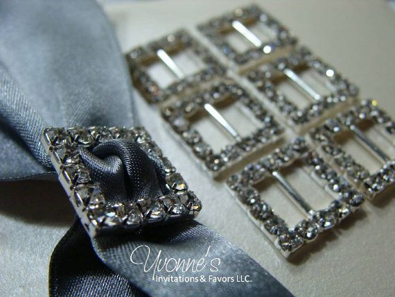 These square rhinestone buckles by Yvonne, can be added to wedding invitations, bridal bouquets, centerpieces or pillar candles. The effect is instant glam and the possibilities are endless! $.99 each!