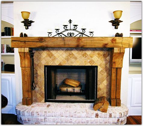 Fireplace Mantels Made of Reclaimed Wood | Blackford and Sons Antique Reclaimed Woods.....beautiful (but with a different tile!)