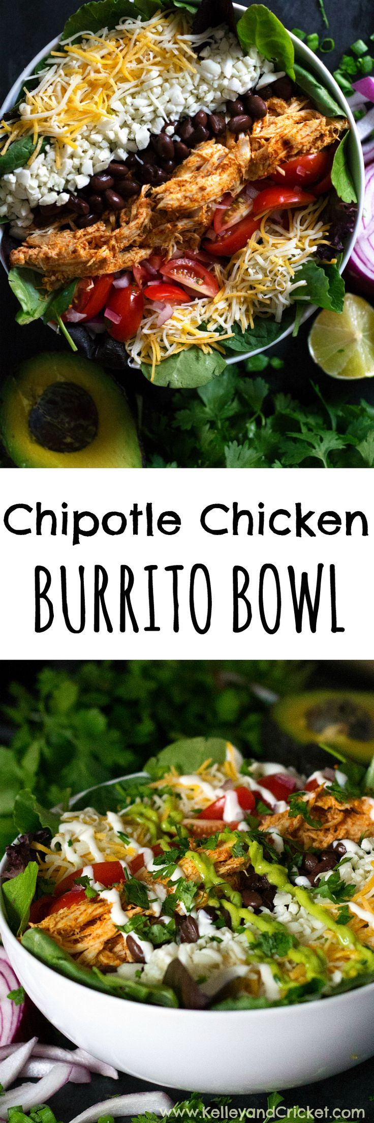 This Chipotle Chicken Burrito Bowl Salad is so full of fresh flavor it will be your new go-to healthy and hearty meal! Use left over chicken breast, or rotisserie chicken, and this healthy and hearty meal can be made in under 10 minutes flat!