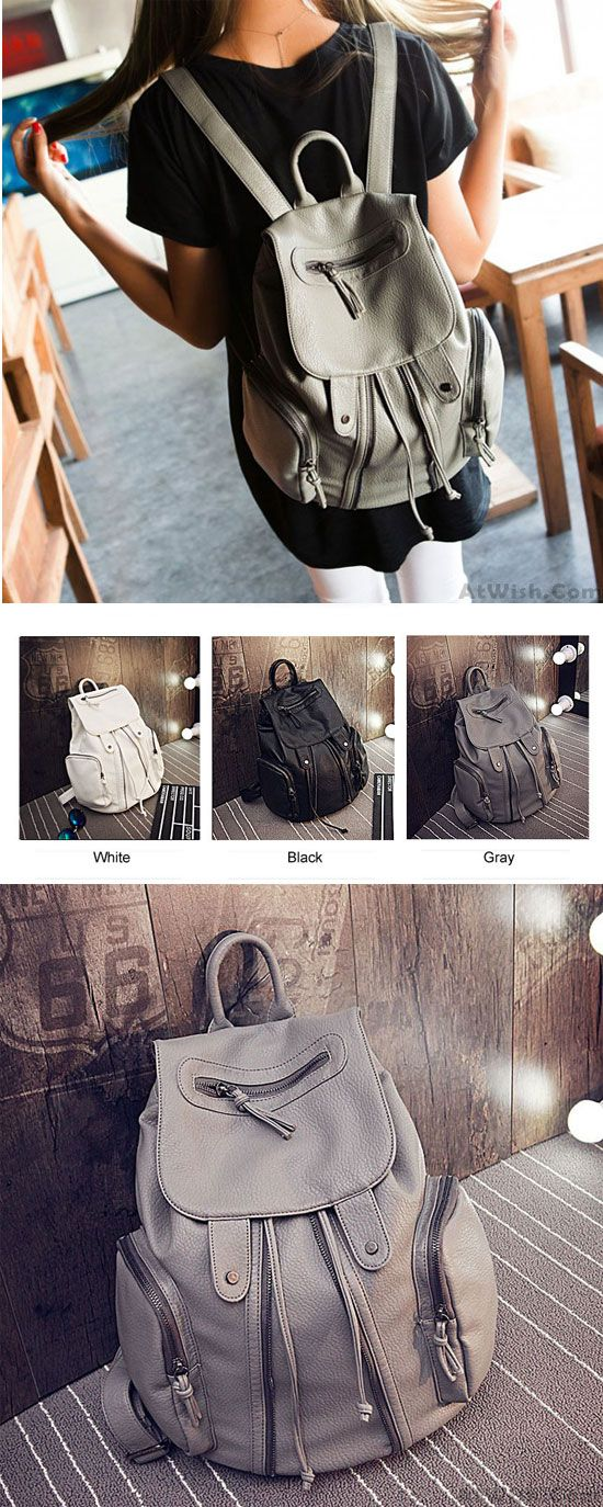 Fashion Soft Leather Motorcycle Zipper Beam Port Backpack for big sale ! #soft #leather #backpack #Bag