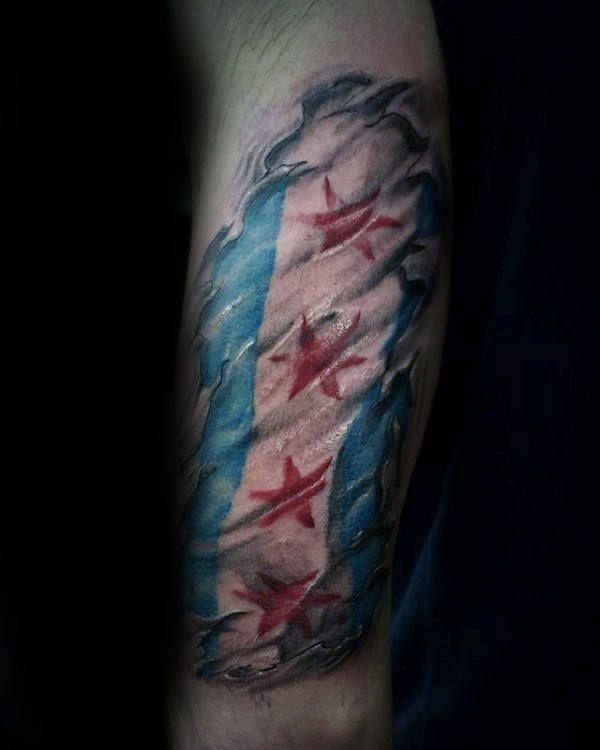 50 Chicago Flag Tattoo Designs For Men Illinois Ink Ideas Chicago Flag Tattoo Tattoo Designs Men Flag Tattoo