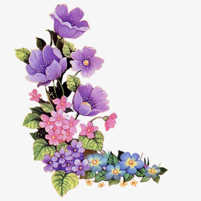 Purple Flowers Decorate The Corners Fig Painted Purple Elegant Png Transparent Clipart Image And Psd File For Free Download Floral Painting Flower Art Flower Painting