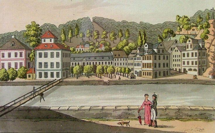 """BERGER Václav (1785-1824): """"Saský sál"""" """"Karlovy Vary s Puppovou alejí"""", """"Dorotheininy nivy"""""""