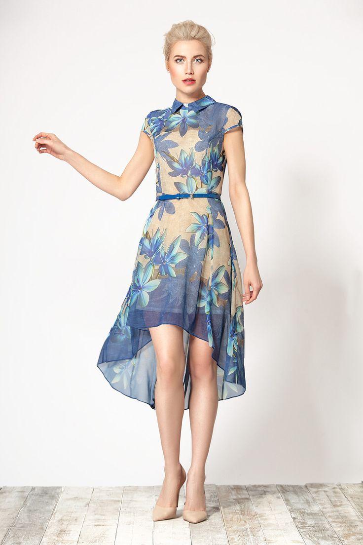 Нарядное легкое платье, выполненное из тонкого струящегося шифона с приятным цветочным принтом от Devita.