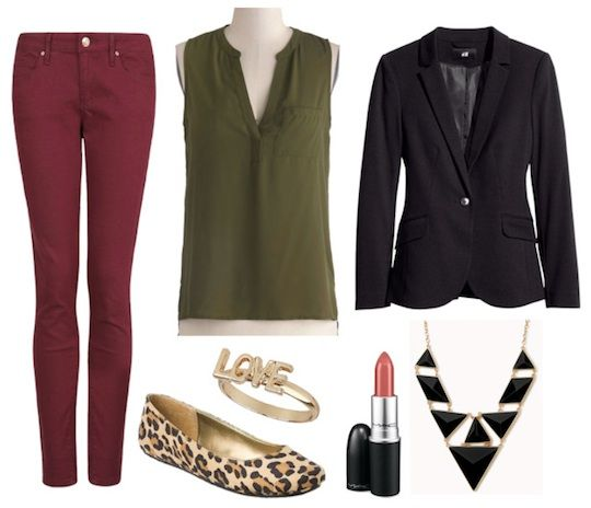 Cute, casual, work appropriate - olive top, wine pant, black blazer, leopard flats, statement black necklace
