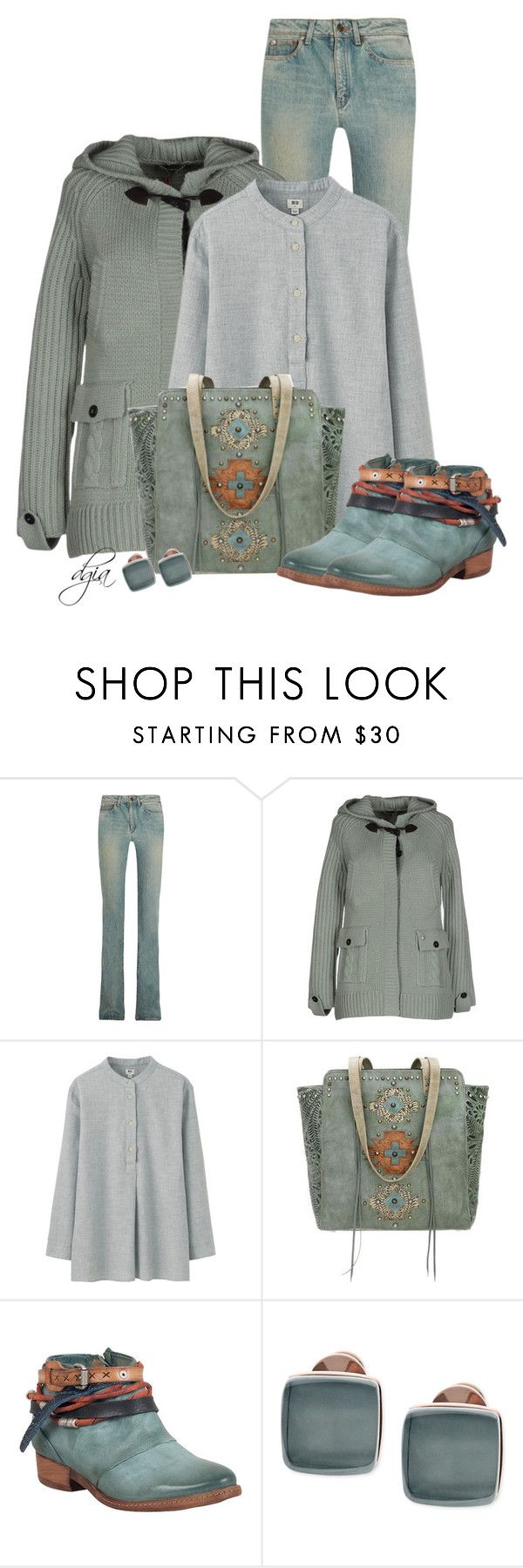 """""""American West Navajo Soul Tote"""" by dgia ❤ liked on Polyvore featuring Yves Saint Laurent, Woolrich, Uniqlo, American West, A.S. 98 and Skagen"""