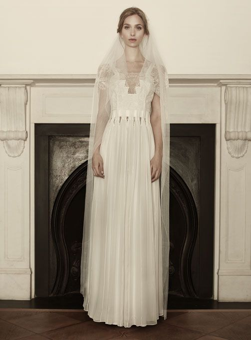 "Brides.com: . ""Tykhe"" silk chiffon and lace A-line wedding dress with short sleeves and geometric neckline, Sophia Kokosalaki  See more Sophia Kokosalaki wedding dresses in our gallery."