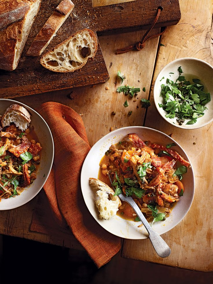 Slow cooked pork, spicy chorizo, chickpeas, fennel and carrot combine in this stew recipe to make a warming dinner that's longing to be mopped up with crusty bread.