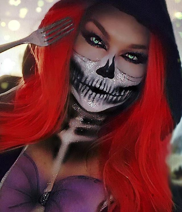 .......And later the glam skull got mermafied, Ariel lost her voice and half her face in my version lol (MUA Sarah Chambers) ♡♥♡♥♡♥ #makeup #Halloween #Instagram