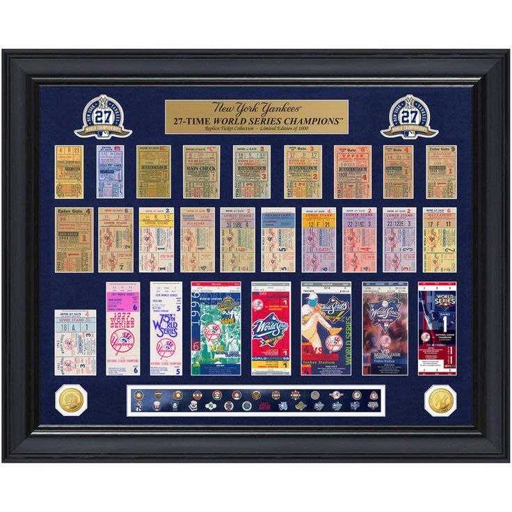 """New York Yankees Highland Mint 32"""" x 26"""" 27-Time World Series Champions Deluxe Coin & Ticket Collection Photo Mint"""