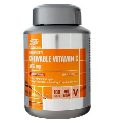Boots Pharmaceuticals Boots CHEWABLE VITAMIN C 1000 mg ORANGE FLAVOUR 24 Advantage card points. Boots Vitamin C 1000 mg Food Supplement with Bioflavonoids and Sweeteners 180 Tablets FREE Delivery on orders over 45 GBP. (Barcode EAN=5045097866660) http://www.MightGet.com/april-2017-1/boots-pharmaceuticals-boots-chewable-vitamin-c-1000-mg-orange-flavour.asp