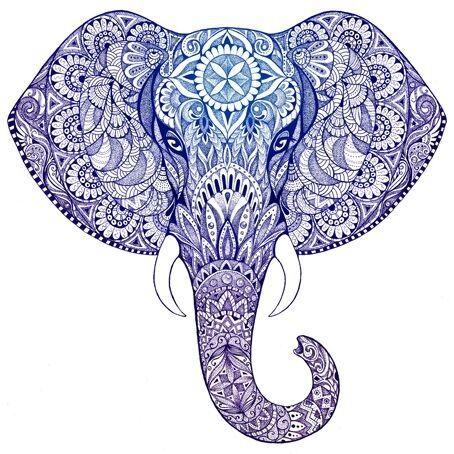 Square Canvas Print - Blue/White Elephant Head