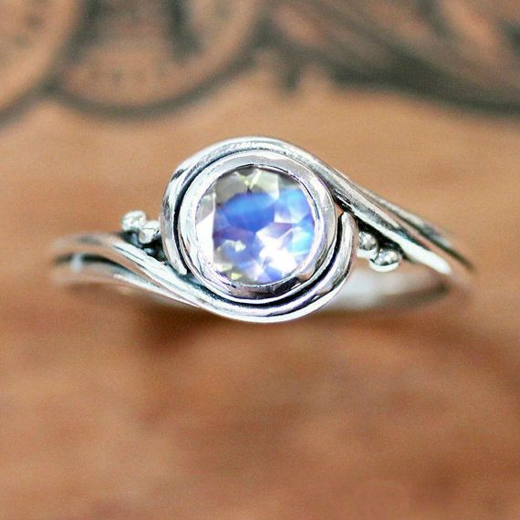 Moonstone ring sterling silver moonstone engagement by metalicious