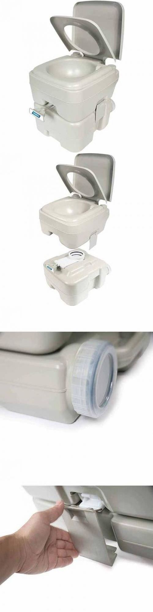 Portable Toilets And Accessories 181397 Camping Toilet 53 Gal Flushing Chemical Commode Rv Camper