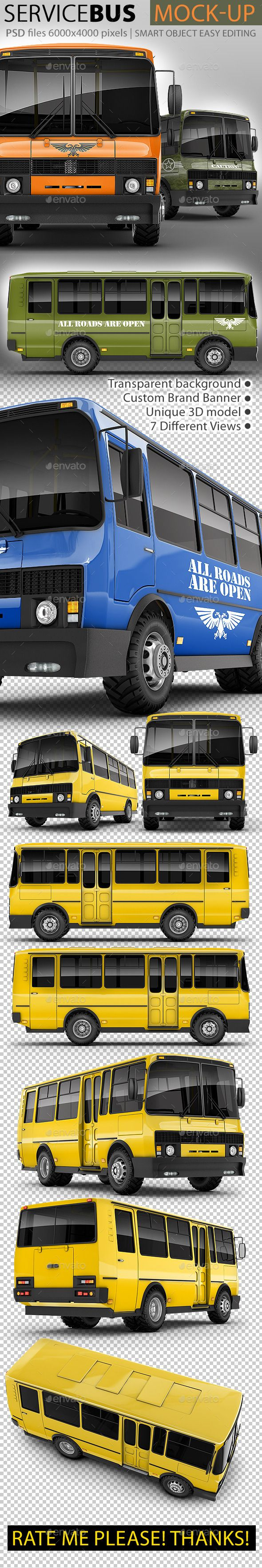 Service Bus Mock-up by Bennet1890 Set includes 7 hi-res 3D renders of service bus, based on real russian bus model PAZ 3205, in different PSD files 60004000 resolut