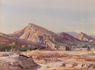 The Three Sisters of Aroona by Hans Heysen (1927) Watercolour 76 x 90 cm with frame