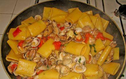 Paccheri con vongole e zucchine - Vi proponiamo una gustosa ricetta di pasta adatta alla primavera, sia perché usa le zucchine di stagione, sia perché è molto leggera, perfetta quindi a prepararci per l'estate
