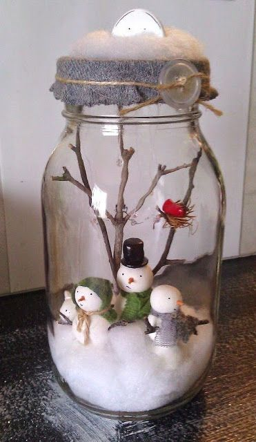 my little snowman family / sweet preserves jar / made to order. $35.00, via Etsy.
