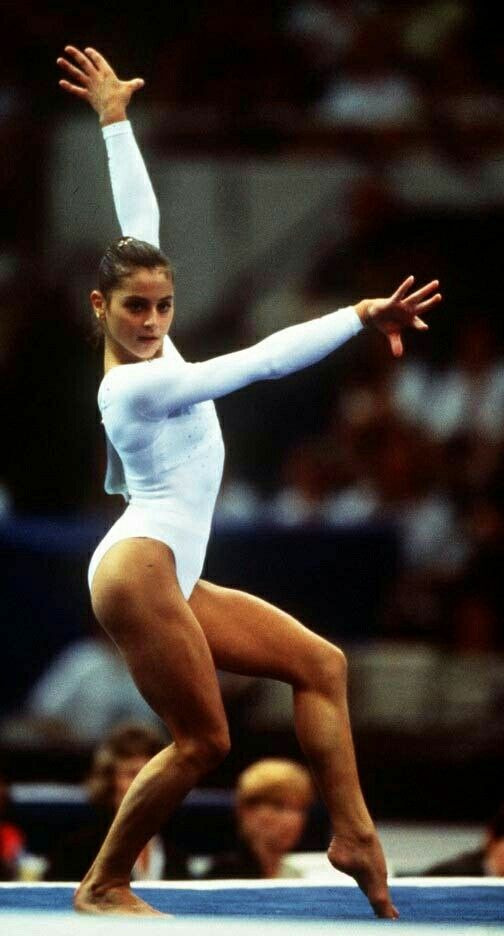 Gymnast Dominique Moceanu of the USA dances in the Womens
