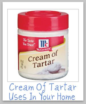 Another ingredient to add to your homemade cleaners arsenal -- cream of tartar. Great list of its uses, and what it does for cleaning and stain removal.