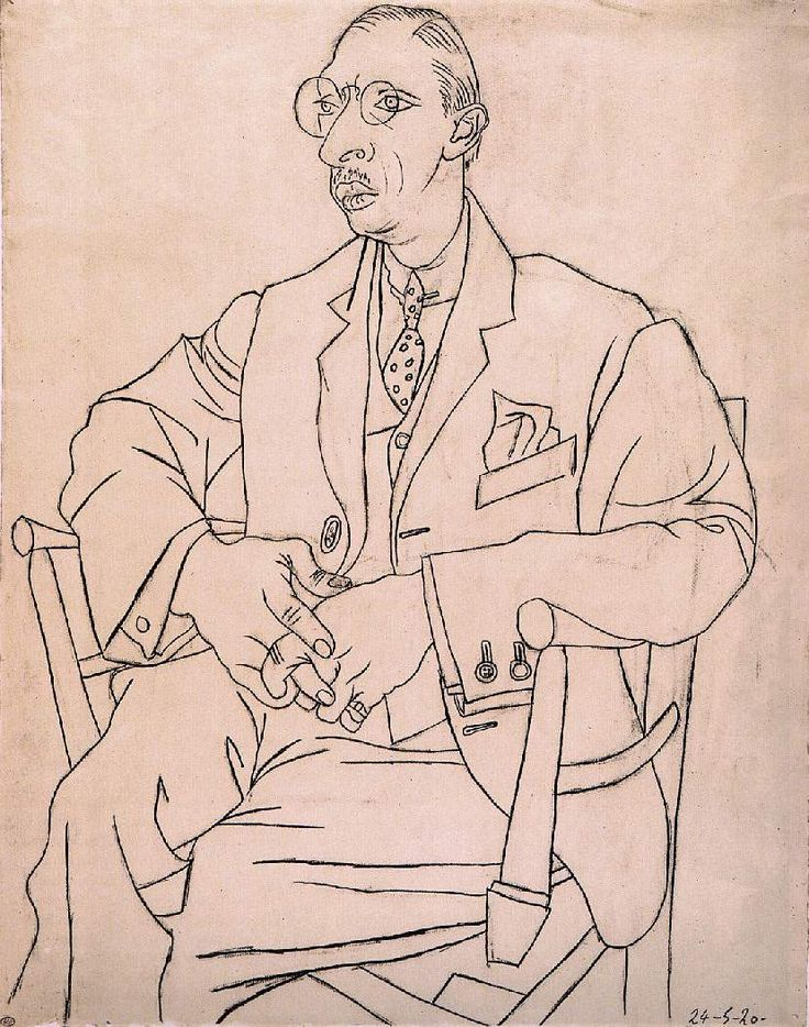 Pablo Picasso - Portrait d' Igor Stravinsky. I have always liked this drawing. And Betty Edwards uses it as an excercise in 'Drawing on the Right Side of the Brain' - asking you to copy this drawing, but upside down.