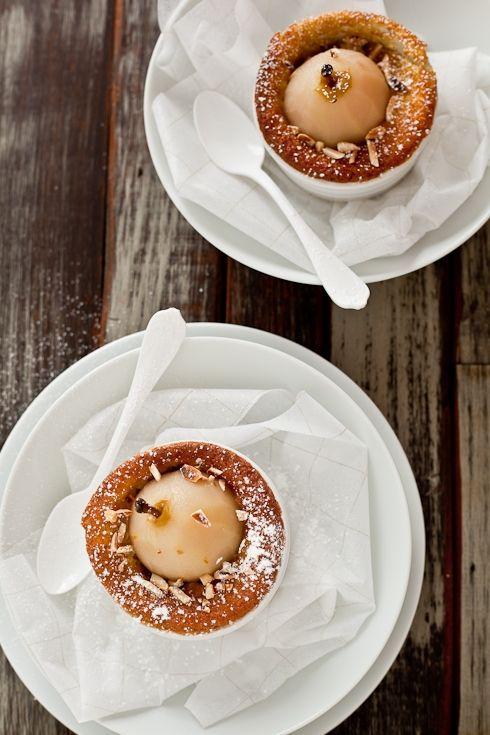 ... pears, via Tartelette :: Poached Pear & Almond Fallen Souffle Cakes